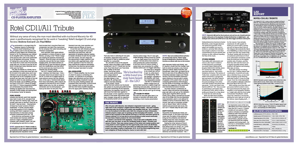 Rotel CD11 / A11 Tribute | Outstanding Product Award, Hi-Fi News, January 2021 | Unilet Sound & Vision