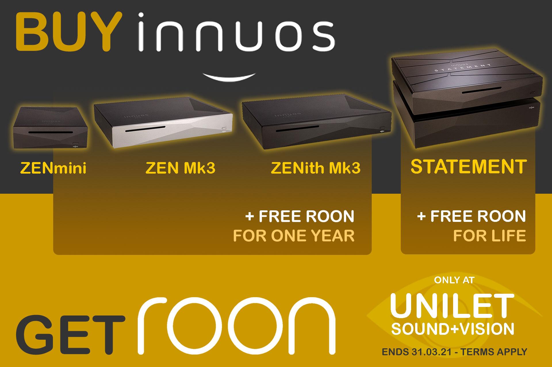Buy Innuos, Get Free ROON Membership | Unilet Sound & Vision